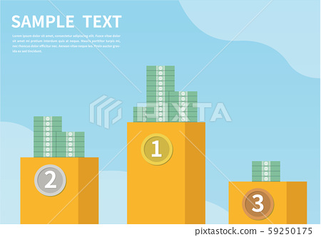 The pursuit of wealth. money ranking. The concept of business success. Winners ranking podium vector illustration. Prizes for champions flat style design. 59250175