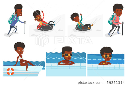 Vector set of traveling people. 59251314