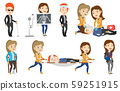 Vector set of doctor characters and patients. 59251915