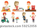 Vector set of people eating and drinking. 59252056