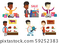 Vector set of shopping people characters. 59252383