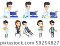 Vector set of doctor characters and patients. 59254827