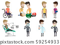 Vector set of doctor characters and patients. 59254933