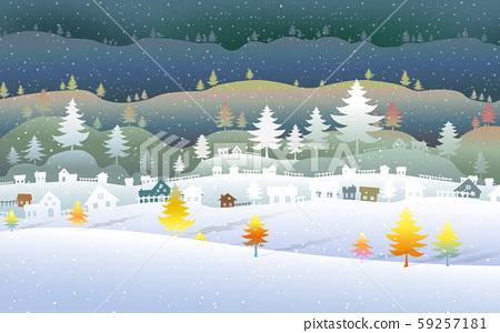 Season change with beautiful winter landscape. 59257181
