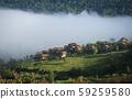 village thailand with foggy landscape mountains 59259580