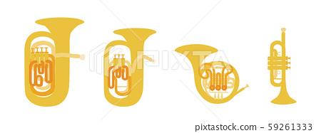 矢量插圖集的銅管樂器樂隊銅管樂隊銅管樂隊音樂 59261333