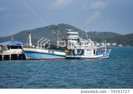 fishing boat at harbor in the ocean sea and 59261727