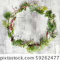 winter wreath on the wooden background 59262477
