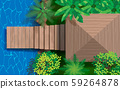 wooden pavilion and wooden bridge at the river 59264878