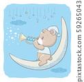 熊在月亮上吹小號。用於嬰兒用品,賀卡等 59265043