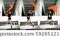 Jumping Girl model jumps on a trampoline and Pose 59265121