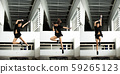 Jumping Girl model jumps on a trampoline and Pose 59265123