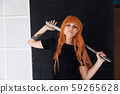 fashionable woman with red hair anime japan sword 59265628