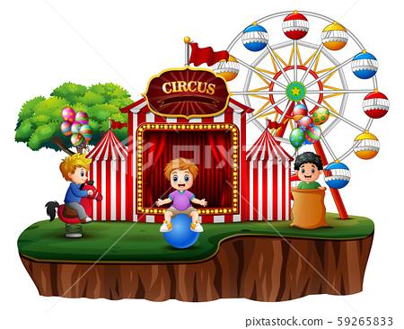 Cartoon children having fun on the amusement 59265833