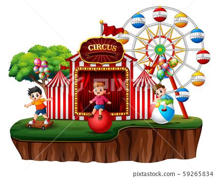 Cartoon children having fun on the amusement 59265834