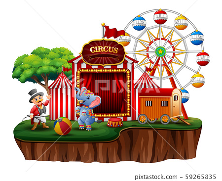 Circus show with trainer and elephant on island 59265835