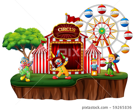 Cartoon clowns in an island with a carnival 59265836