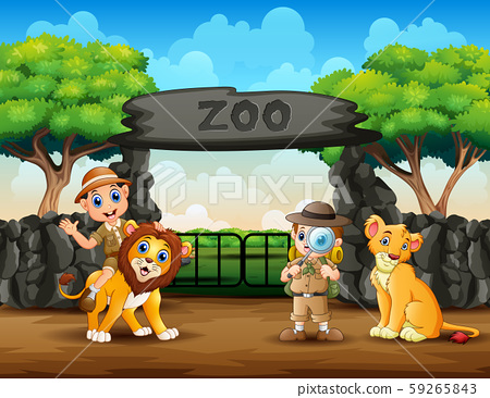 The zookeeper boys and wild animals in the zoo 59265843