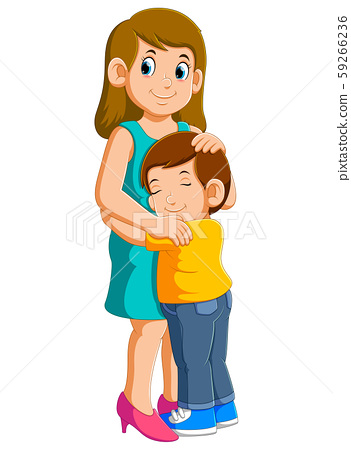Young mother and her charming little son are hugging and smiling 59266236