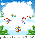 Winter Christmas Background with snowman playing ice skates, skiing, sleigh ride 59266245