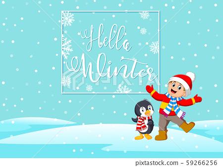 Cartoon happy children and penguin enjoying winter 59266256