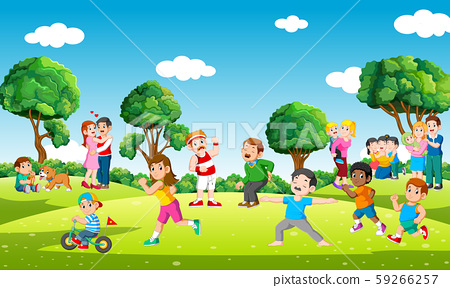 People in city park doing sports and playing with kids in leisure 59266257