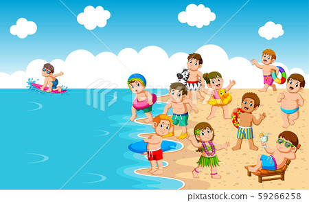 Kids Playing At Beach and Sea 59266258