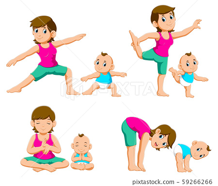 Collection of Young mothers and their babies doing yoga exercises 59266266