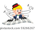 Boy singing and playing piano 59266267