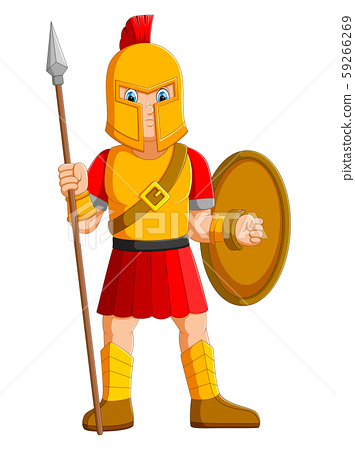 Ancient warrior or Gladiator posing and holding spear 59266269