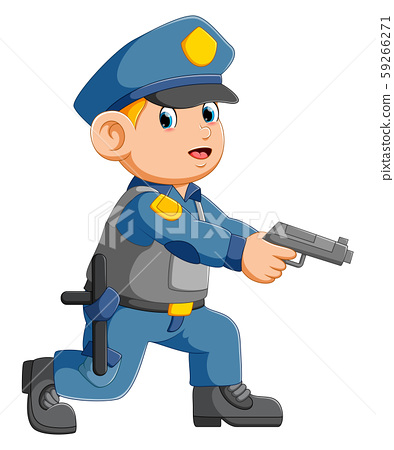 Policeman officer aiming with pistol 59266271