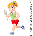 Runner girl running and listening music earphones 59266275