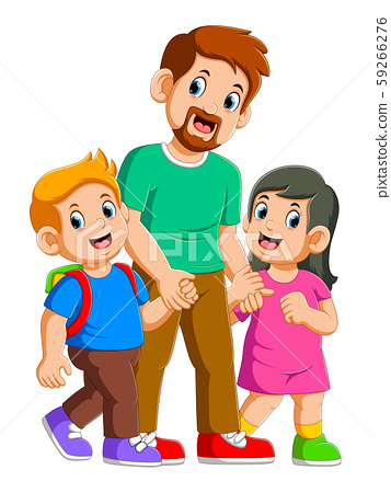 Happy father and two little children playing together 59266276