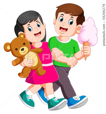 Young couple spend romantic while lady holds teddy bear in hands 59266279