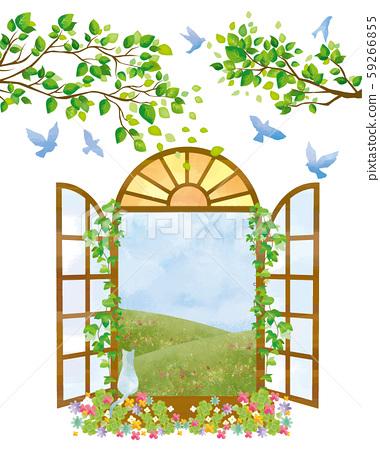 框架:窗戶,西窗,藍天,藍天,小鳥水彩,可愛的樹,自然 59266855