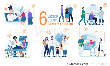 Family Doctor Work Trendy Flat Vector Scenes Set 59269488