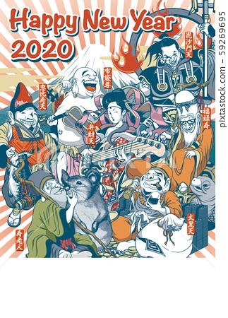 """2020年新年賀卡模板""""稍微有趣的七福神""""垂直新年快樂,手寫空間 59269695"""