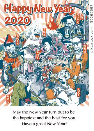"""2020年新年賀卡模板""""略帶滑稽的七位幸運神""""垂直新年快樂與英語寫作 59269697"""
