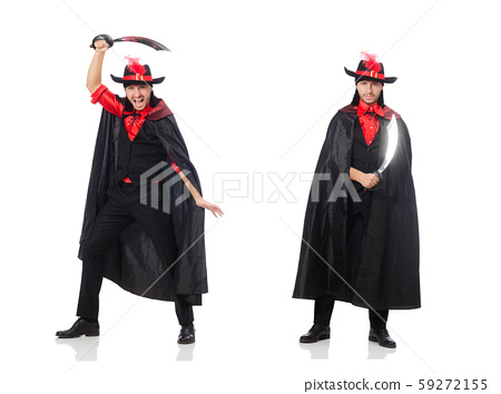 Young man in carnival coat with sword isolated on white 59272155