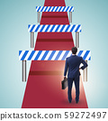 Businessman facing running barriers in challenging business 59272497