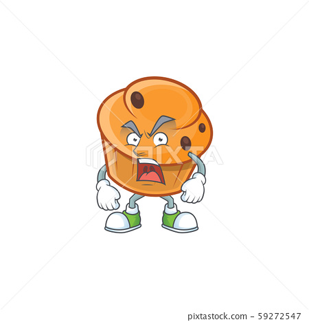 Dessert brioche of appetizing with angry mascot 59272547