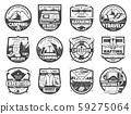 Sport adventure, travel equipment isolated icons 59275064