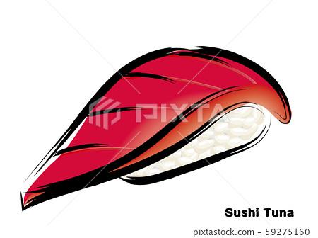 刷觸摸,手繪壽司,三文魚圖|金槍魚紅握壽司插圖 59275160
