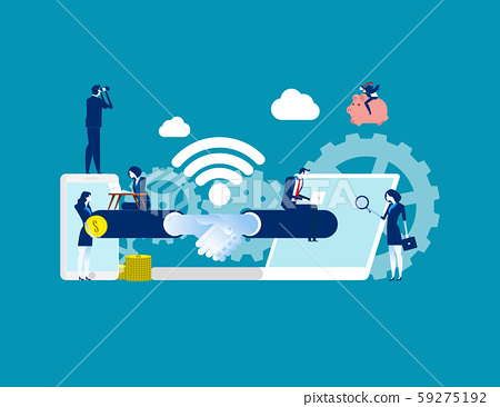 Business handshake via phone and laptop. Concept 59275192