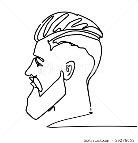 Continuous Line Young Man Portrait Sketch Side Stock Illustration 59276655 Pixta