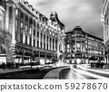 런던 피카딜리 서커스 야경 흑백 59278670