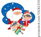 Santa Claus and children. 59282350