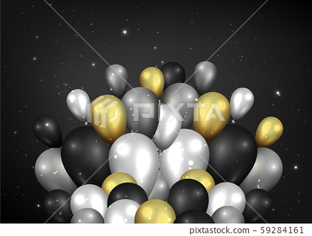 Golden black and silver balloons shiny black 59284161
