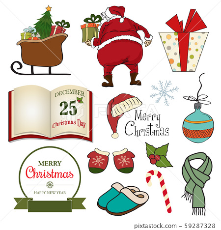Huge Christmas items collection isolated 59287328