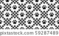 dog paw seamless pattern footprint vector checked french bulldog cartoon scarf isolated repeat wallpaper tile background illustration doodle design 59287489